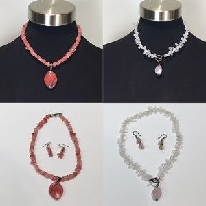 Jewelry - 2 Quartz Necklaces, 1 Coral & 1 Pale Pink 16-17""